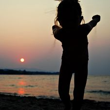 Free Young Kid Girl Sand Sunset Royalty Free Stock Photo - 3366275