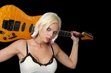 Free Gorgeous Blond Holding Guitar Royalty Free Stock Photo - 3368625
