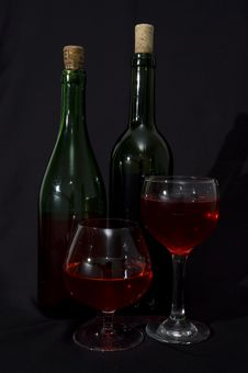 Free Two Wine Bottles And Glasses Stock Photo - 3369000