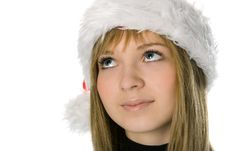 Free Girl Face In Santa Hat Stock Images - 3369344