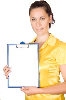 Free Woman Holding Blank Sign Royalty Free Stock Photos - 33618448