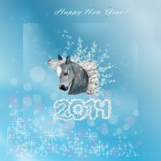 Free Horse On Christmas Card. Royalty Free Stock Photography - 33647267