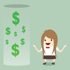 Free Businesswoman Happy Get Money Bonus From Bank Stock Photography - 33647272