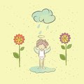 Free Illustration With An Angel And Flowers In The Rain Stock Photo - 33656930
