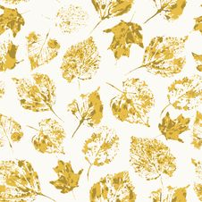 Seamless Texture With Stamped Autumn Leaves Stock Image