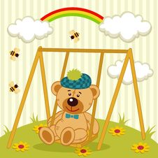 Teddy Bear On Swing Royalty Free Stock Images