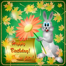 Free Greeting Card With Rabbit Royalty Free Stock Photo - 33654225