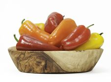 Free Red, Orange, And Yellow Peppers In Wood Bowl Royalty Free Stock Image - 33654906