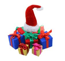 Heap Of Gifts With Santas Hat Stock Photography
