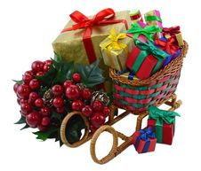 Free Santas Sledges With Gifts And Berries Stock Photography - 33656612