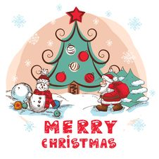 Christmas Colorful Vector Card Royalty Free Stock Photography