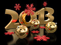 Free Gold 2013 And Christmas Balls Royalty Free Stock Images - 33664049