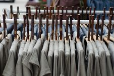 Clothes And Wood Coat Hanger Royalty Free Stock Photo