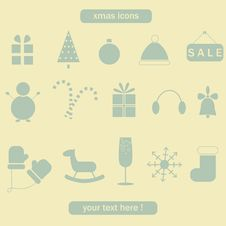 Free Christmas And Winter Collection Of Icons. Royalty Free Stock Photos - 33662148