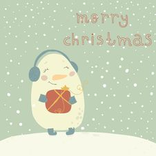 Free Christmas Illustration With Cute Snowman. Cartoon Royalty Free Stock Photo - 33662155