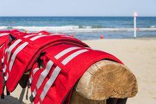 Life Jacket - Rimini Beach, Italy Royalty Free Stock Photo