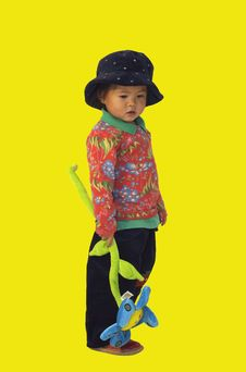 Little Asian Girl With Hat Stock Photos
