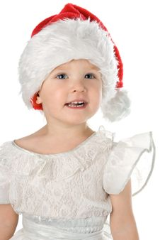 Baby In Santa Claus Red Hat Royalty Free Stock Photo