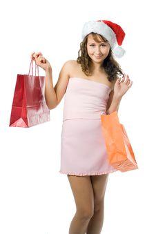 Free Shopping Christmas Girl Stock Photo - 3374220