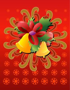 Christmas Bells With Red Ribbo Stock Photo
