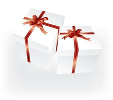 Free Gift Boxes With Red Ribbons Royalty Free Stock Photos - 3376468