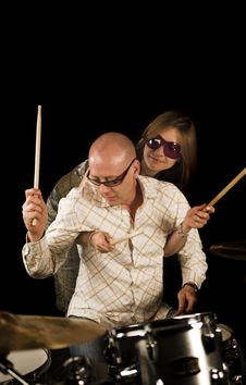 Free Couple And Drums Stock Images - 3377164