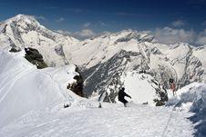 Free Sunny Skiing In Alps Royalty Free Stock Photos - 3378648