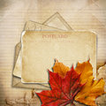 Free Grungy Autumn Background With Cards And Maple Leaves Stock Photography - 33707522