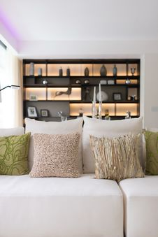 Free Modern Style Sofa With Pillows Royalty Free Stock Photo - 33700625