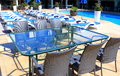 Free Rattan Furniture At Patio Near Pool Stock Photography - 33717492