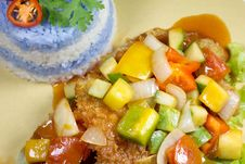 Sweet And Sour Fish With Purple Rice Stock Photography