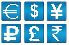 Free All Currency Icons Blue Square Stock Photography - 33713262