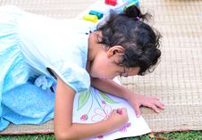 Free Going Back To School,Girl Drawing And Painting Over Green Grass Royalty Free Stock Photography - 33716517