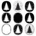 Free Hand Drawn Christmas Trees And Frames  Set Stock Photos - 33721503