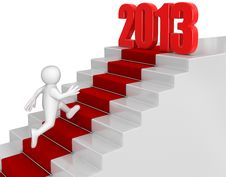 Free Businessman Run Up To 2013 Royalty Free Stock Image - 33720906