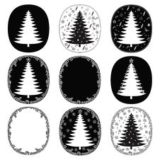 Free Hand Drawn Christmas Trees And Frames  Set Stock Photos - 33721503