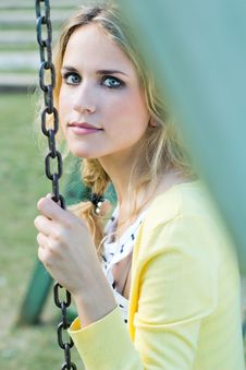 Free Young Blonde Girl At The Park Royalty Free Stock Photo - 33721975
