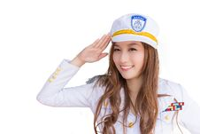 Free Pretty Asian Woman In Marine Uniform, Isolated Royalty Free Stock Image - 33725226