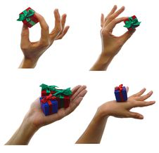 Set Of Hands With Gifts Royalty Free Stock Photography