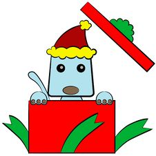 A Doggy Christmas Gift Royalty Free Stock Photography