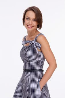 Free Woman In Summer Dress With Gingham Royalty Free Stock Photos - 33747798