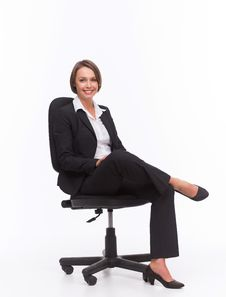 Businesswoman Sit On Chair Royalty Free Stock Photography
