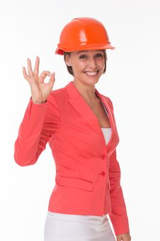 Business Woman In Helmet And Jacket Show Okay Stock Photography