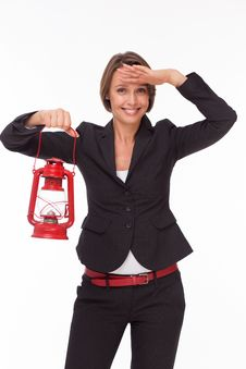 Free Businesswoman  With Red Kerosene Lamp Royalty Free Stock Images - 33748579