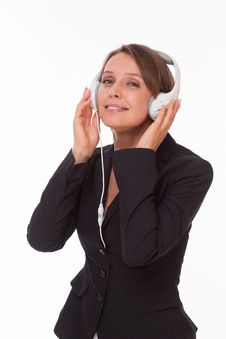 Free Businesswoman With Earphones On White Royalty Free Stock Photos - 33748608