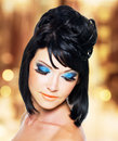 Free Face Of A Beautiful Woman With Blue Makeup Royalty Free Stock Photos - 33750168