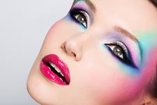 Beautiful Woman With Fashion Bright Makeup Stock Photo