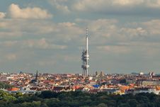 Panorama Of Prague And TV Tower With Babies Stock Photo