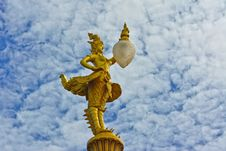 Free Gold Kinnaree Statue With Lantern Royalty Free Stock Photography - 33758287