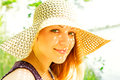 Free Girl In A Summer Hat Royalty Free Stock Photo - 33767175